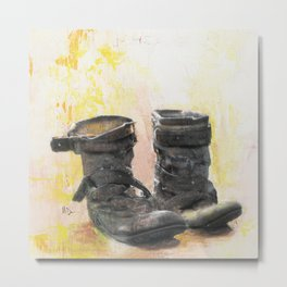 Boots in the Hall - Boots drying by the Fire in Winter Metal Print