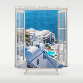 Santorini Greece | OPEN WINDOW ART Shower Curtain