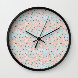 Red Coral Water Geometric Ocean Sealife Aqua Wall Clock