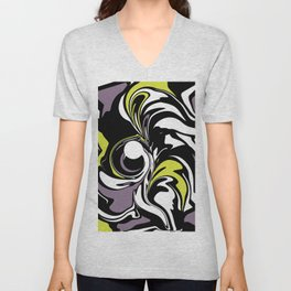 Abstract Fairy in Lime and Purple Unisex V-Neck