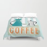 coffee Duvet Covers featuring Coffee by Jenny Tiffany