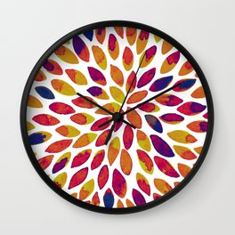 Watercolor brush strokes - multicolor Wall Clock