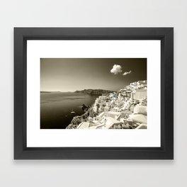 Santorini Seascape in sepia Framed Art Print