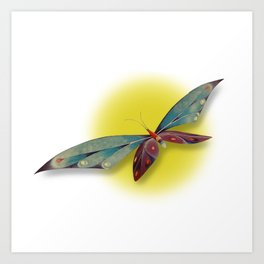 Fantasy Dragonfly Over the Sun Art Print
