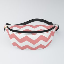 White and Coral Pink Horizontal Zigzags Fanny Pack