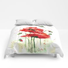 Watercolor flowers of aquarelle poppies Comforters