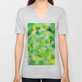 geometric polygon abstract pattern in green and yellow Unisex V-Neck
