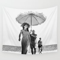 picasso Wall Tapestries featuring PABLO PICASSO AT BEACH by VAGABOND