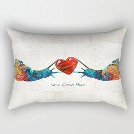 Snail Art - Love Grows Here - By Sharon Cummings Rectangular Pillow
