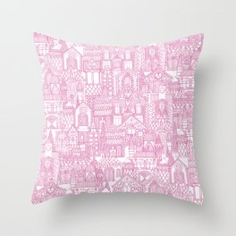 gingerbread town pink Throw Pillow