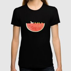 duckies and watermelon Womens Fitted Tee Black MEDIUM