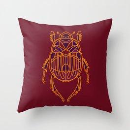 Geometric Beetle - Burgundy and Orange Throw Pillow