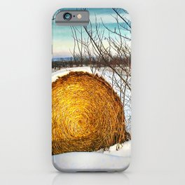 Hay bale forgotten in the snow iPhone Case