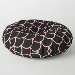 Pink & Black Fish Scales Pattern Floor Pillow