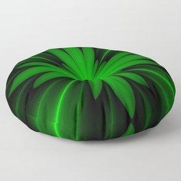 Neon Green Flower Fractal Floor Pillow