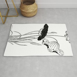 Chinese Ink Brush Painting Floral Chinoiserie Art Rug