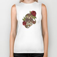 sugar skull Biker Tanks featuring Sugar Skull by Valentina Harper