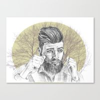 beard Canvas Prints featuring beard by mirart