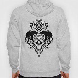 Elephant Damask Black and White Hoody