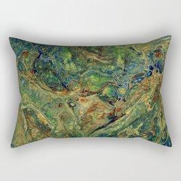 Blue Green Gold Copper Lava Flow Rectangular Pillow