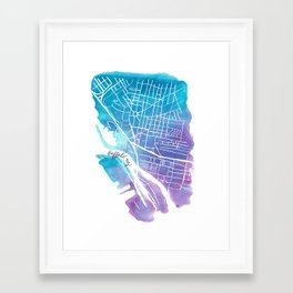 Buffalo, NY City Grid Framed Art Print