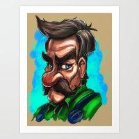 luigi Art Prints featuring Luigi by Michael Clarida Illustration