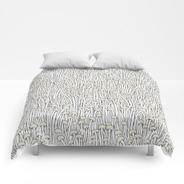 Enokitake Mushrooms (pattern) Comforters