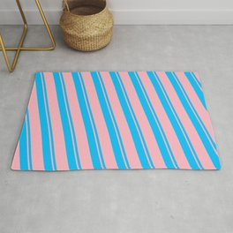 Deep Sky Blue and Light Pink Colored Striped/Lined Pattern Rug