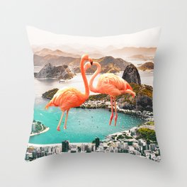 Collage, Flamingo, City, Creative, Nature, Modern, Trendy, Wall art Throw Pillow