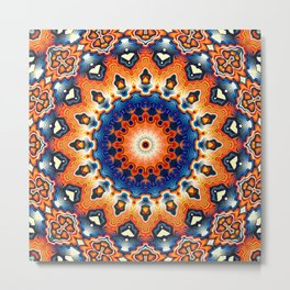 Geometric Orange And Blue Symmetry Metal Print