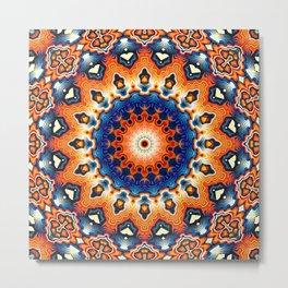 Geometric Orange And Blue Symmetry Metal Print