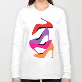 Colorful high heel shoes graphic illustration Long Sleeve T-shirt