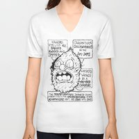sasquatch V-neck T-shirts featuring Depressed Sasquatch by Brent Braaten