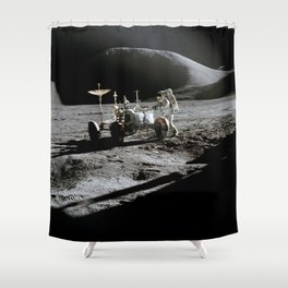 Apollo 15 - Moonwalk 1971 Shower Curtain