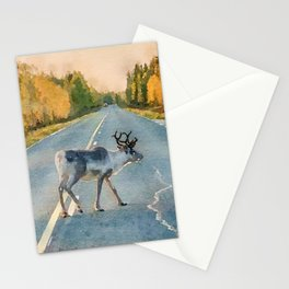 Lappi reindeer watercolor painting Stationery Cards