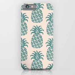 Retro Mid Century Modern Pineapple Pattern Teal and Beige iPhone Case
