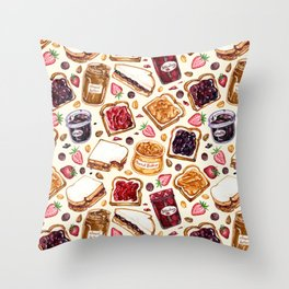 Peanut Butter and Jelly Watercolor Throw Pillow