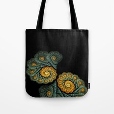 twin spirals on black - windowcurtain Tote Bag