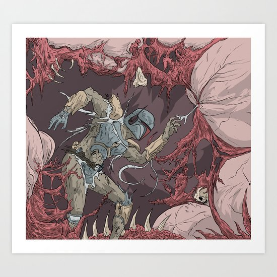 Boba Fett in the Belly of the Sarlacc Art Print