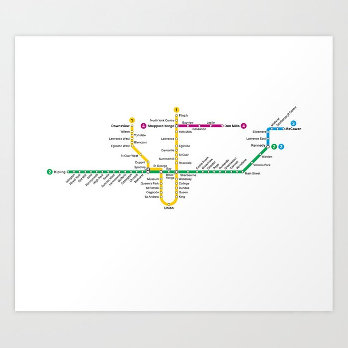 Toronto Subway Map Print.Ttc Subway Map Art Print By Bzmw