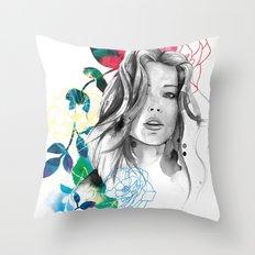 Kristen fashion watercolor portrait Throw Pillow