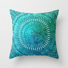 Turquoise Mandala Throw Pillow