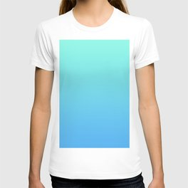 Gradient Blue AI Aqua Turquoise Mint Teal Pastel Azure Ombre Abstract Sea Sky Summer Pattern T-shirt