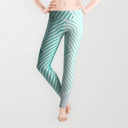Teal Vibes - Geometric Triangle Stripes Leggings
