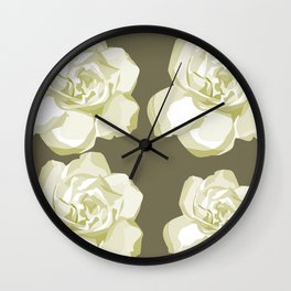 Gray,White Rose background Wall Clock