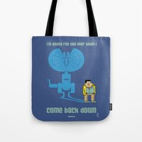 jurassic park Tote Bags featuring JURASSIC PARK : Nerdy Nedry by SimonCARUSO.com
