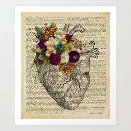human flower heart  Art Print