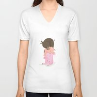 pigs V-neck T-shirts featuring Little pigs by happymiaow