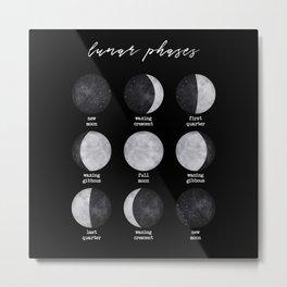 Lunar Phases Metal Print