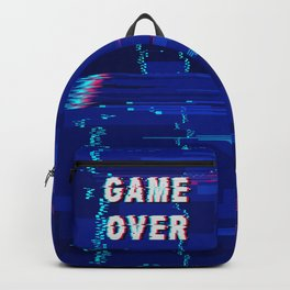 Game Over Glitch Text Distorted Backpack